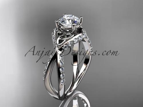 14kt white gold diamond celtic trinity knot wedding ring, engagement ring CT7218