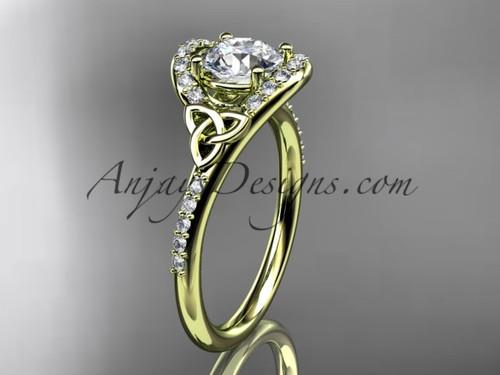 Irish Celtic Bridal Rings Yellow Gold Engagement Ring CT7317
