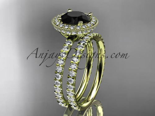 14kt yellow gold diamond unique wedding ring, engagement set with a Black Diamond center stone ADER106S