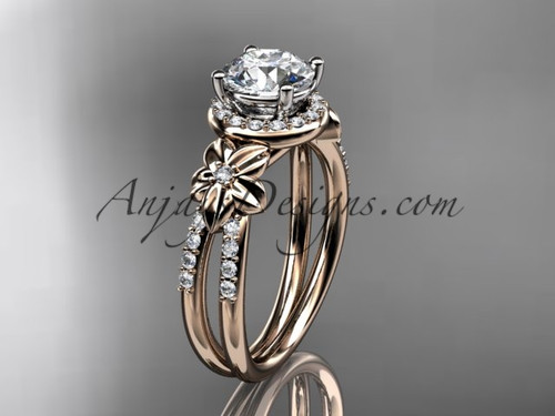 Unique Diamond Engagement Ring, 14k Rose Gold Flower Ring ADLR373