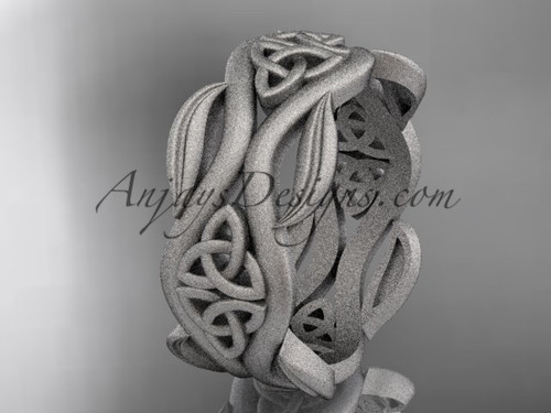 Platinum Celtic Leaf Matte Finish Engagement Ring CT7264G
