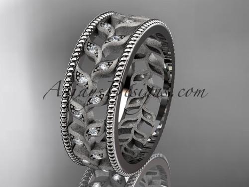 14kt white gold diamond leaf and vine wedding ring, engagement ring, wedding band ADLR46B