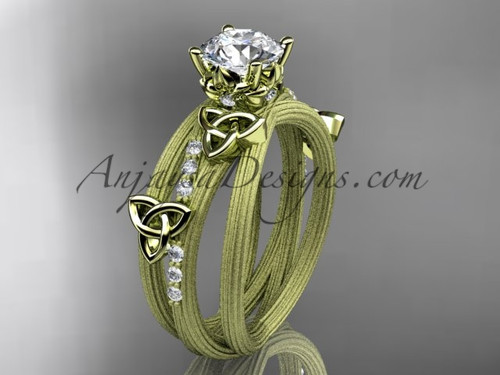 """14kt yellow gold diamond celtic trinity knot wedding ring, engagement ring with a """"Forever One"""" Moissanite center stone CT7329"""