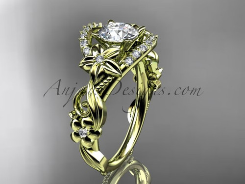 Simple Yellow Gold Wedding Ring, Flower Bridal Ring ADLR211