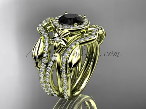 14kt yellow gold diamond leaf and vine, flower engagement ring, wedding ring,  with  Black Diamond center stone and double matching band ADLR89S