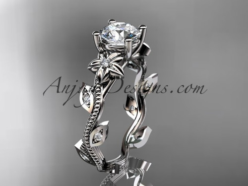 Platinum Leaf & Flower Diamond Ring For Women ADLR151