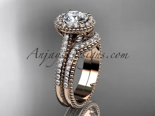 14kt rose gold diamond floral wedding set, engagement ring ADLR101S