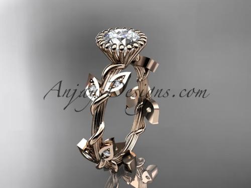 Unique Leaf Design Engagement Ring, Rose Gold Ring ADLR20A
