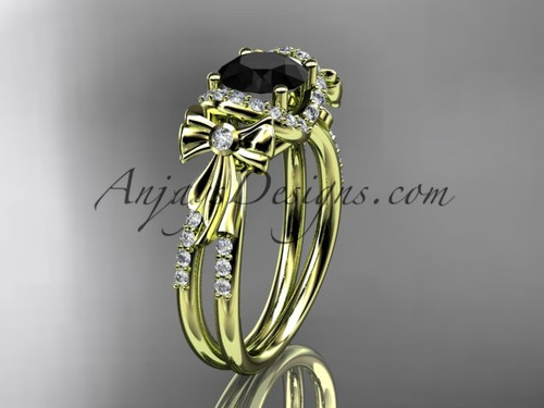 14kt yellow gold diamond unique engagement ring, bow ring, wedding ring with a Black Diamond center stone ADER155