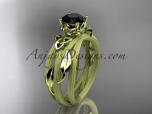 14kt yellow gold diamond celtic trinity knot wedding ring, engagement ring with a Black Diamond center stone CT7253