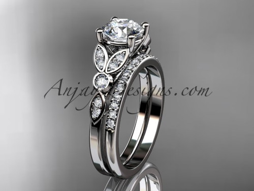"14k white gold unique engagement set, wedding ring with a ""Forever One"" Moissanite center stone ADLR387S"