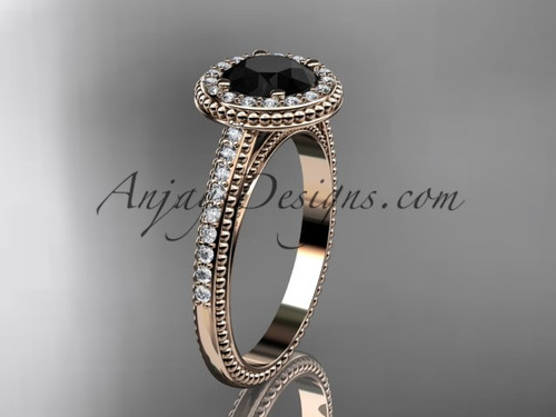 14kt rose gold diamond unique engagement ring, wedding ring with a Black Diamond center stone ADER104