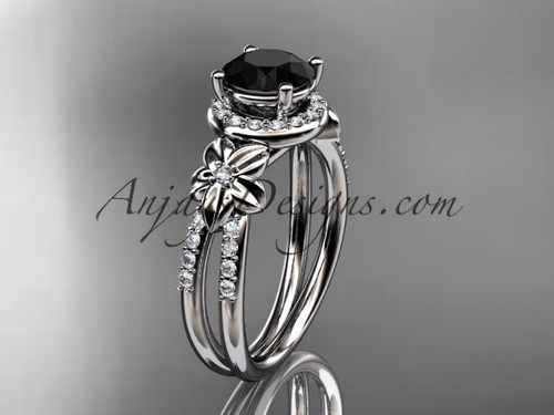 Unique Bridal Rings, White Gold Black Diamond Ring ADLR373