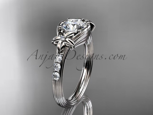"""Unique 14k white gold diamond leaf and vine, floral diamond engagement ring with a """"Forever One"""" Moissanite center stone ADLR333"""