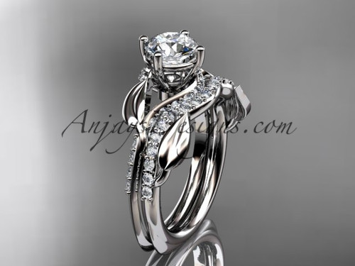 """Unique platinum diamond  leaf wedding ring, engagement set with a """"Forever One"""" Moissanite center stone ADLR225S"""