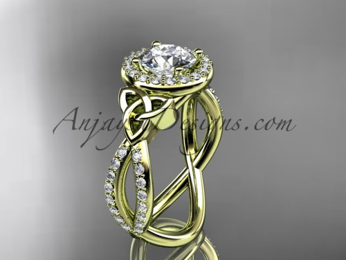 """14kt yellow gold diamond celtic trinity ring,  triquetra ring, Irish engagement ring with a """"Forever One"""" Moissanite center stone CT7374"""
