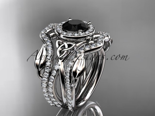 14kt white gold celtic trinity knot engagement ring, wedding ring with a Black Diamond center stone and double matching band CT789S