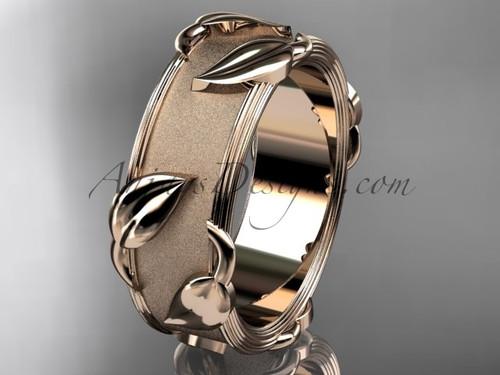 14kt rose gold leaf and vine wedding band, engagement ring ADLR252G