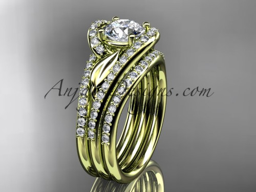 14k yellow gold diamond leaf and vine wedding ring, engagement ring with a double matching band ADLR317S
