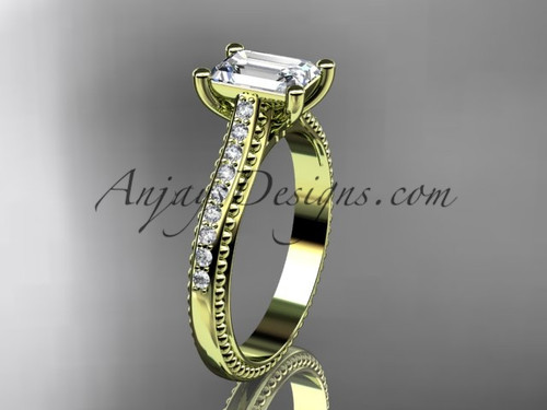 """14kt yellow  gold diamond unique engagement ring, wedding ring with a """"Forever One"""" Moissanite center stone ADER113"""