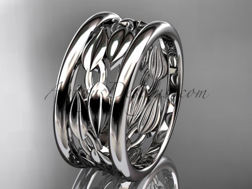 14kt white gold leaf and vine wedding ring, engagement ring, wedding band ADLR293G