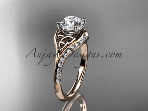 14kt rose gold diamond celtic trinity knot wedding ring, engagement ring CT7125