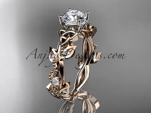 Irish Celtic Wedding Rings, Rose Gold Leaf Bridal Ring CT759