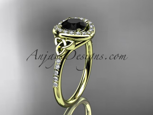14kt yellow gold diamond celtic trinity knot wedding ring, engagement ring with a Black Diamond center stone CT7201