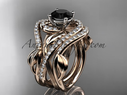 Unique 14kt rose gold diamond leaf and vine wedding ring, engagement ring with a Black Diamond center stone and double matching band ADLR222S