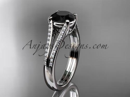 platinum diamond unique engagement ring, wedding ring with a  Black Diamond center stone ADER108