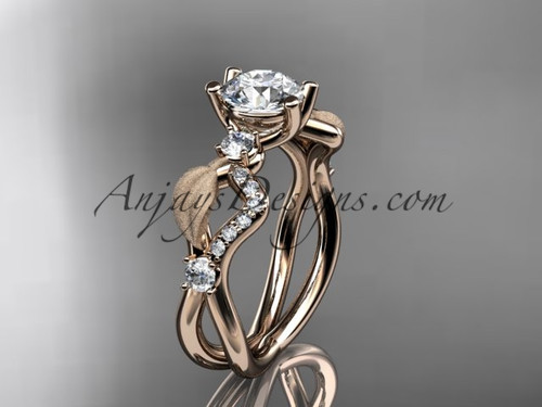 14k rose gold diamond leaf and vine wedding ring, engagement ring ADLR68