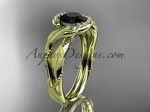 14kt yellow gold diamond leaf and vine wedding ring, engagement ring with Black Diamond center stone ADLR65