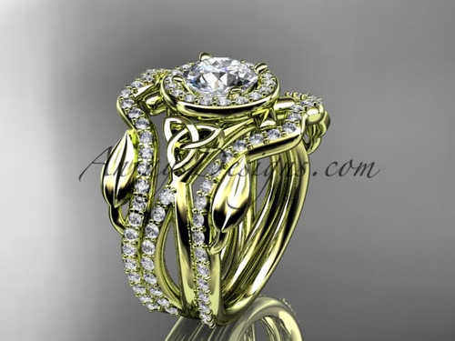 """14kt yellow gold celtic trinity knot engagement ring, wedding ring with a """"Forever One"""" Moissanite center stone and double matching band CT789S"""
