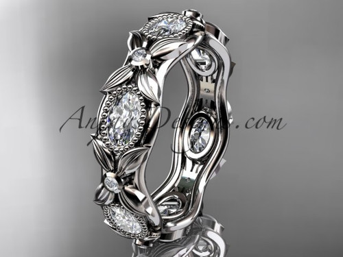14kt white gold  diamond leaf and vine wedding band,engagement ring ADLR152B Nature inspired jewelry