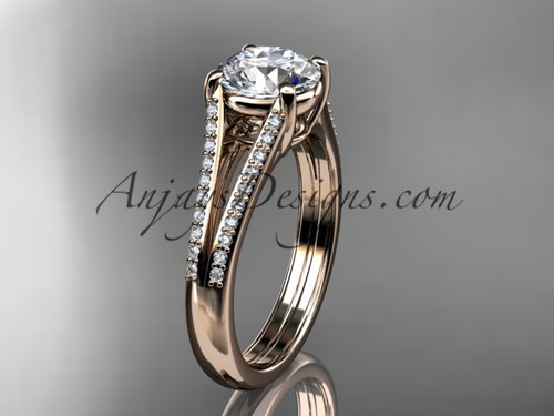 "14kt rose gold diamond unique engagement ring, wedding ring with a ""Forever One"" Moissanite center stone ADER108"