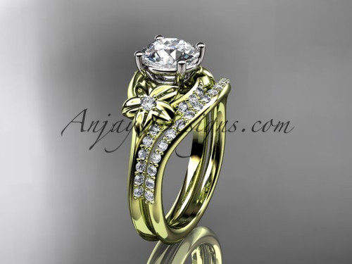 """14kt yellow gold diamond floral wedding set, engagement set with a """"Forever One"""" Moissanite center stone ADLR125S"""