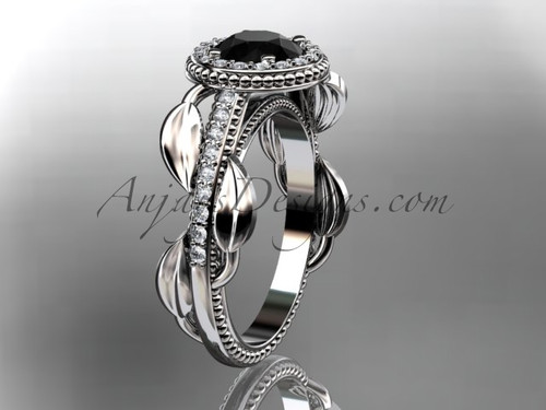 14kt white gold diamond unique engagement ring, wedding ring with a Black Diamond center stone ADLR229