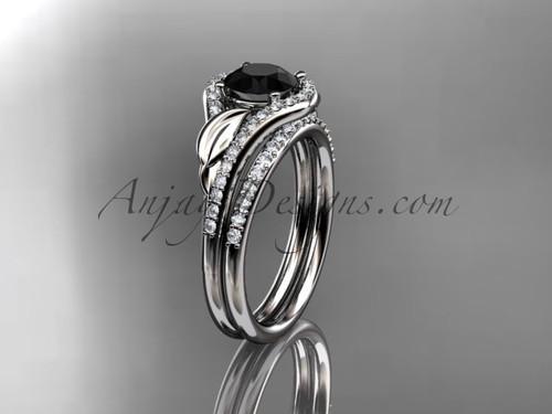 14kt white gold diamond leaf wedding set, engagement set with a Black Diamond center stone ADLR334