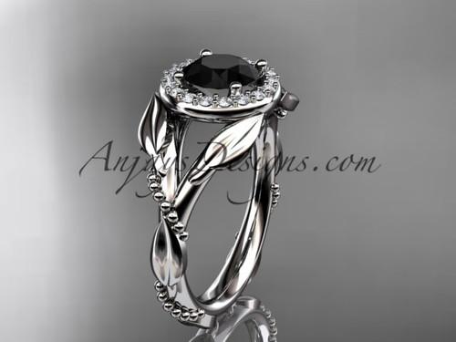 White Gold Black Diamond Leaf Wedding Ring For Women ADLR328