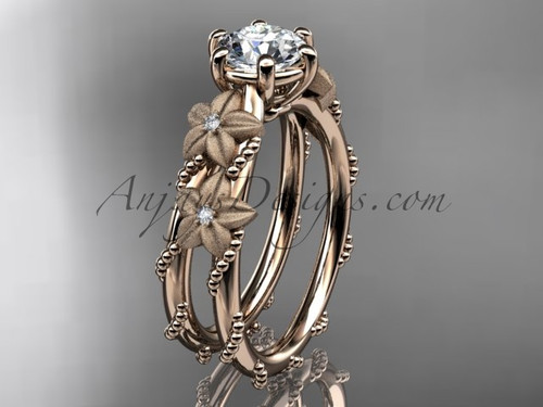 "14kt rose  gold diamond floral, leaf and vine wedding ring, engagement ring with  ""Forever One"" Moissanite center stone ADLR66"