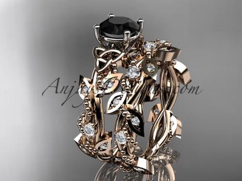 14kt Rose Gold Celtic Black Diamond Bridal Ring Set CT759S
