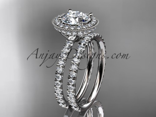 """14kt white gold diamond unique wedding ring, engagement set with a """"Forever One"""" Moissanite center stone ADER106S"""