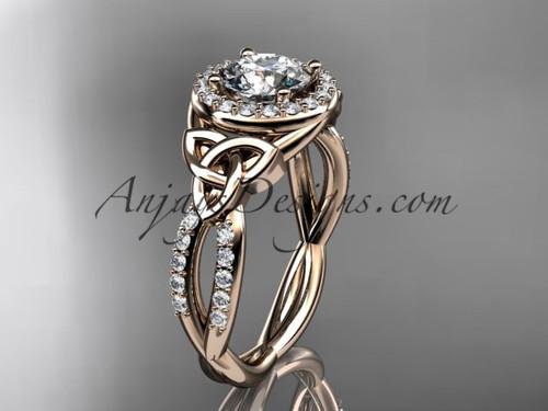 14kt rose gold diamond celtic trinity knot wedding ring, engagement ring CT7127