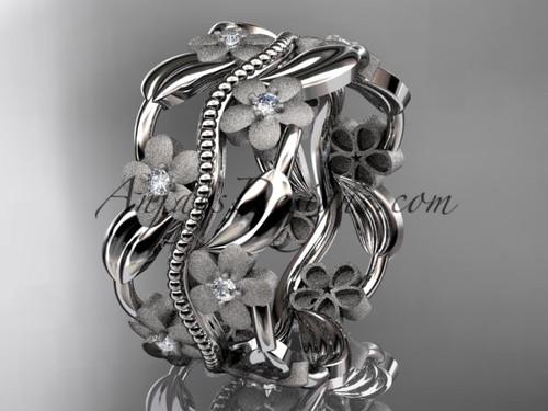 14kt white gold diamond leaf and vine wedding band, engagement ring ADLR188B