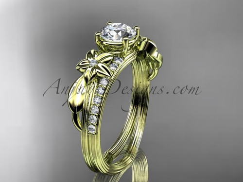 """14kt yellow gold diamond leaf and vine wedding ring, engagement ring with a """"Forever One"""" Moissanite center stone ADLR331"""