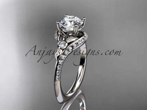 """Platinum diamond leaf and vine engagement ring with a """"Forever One"""" Moissanite center stone ADLR112"""