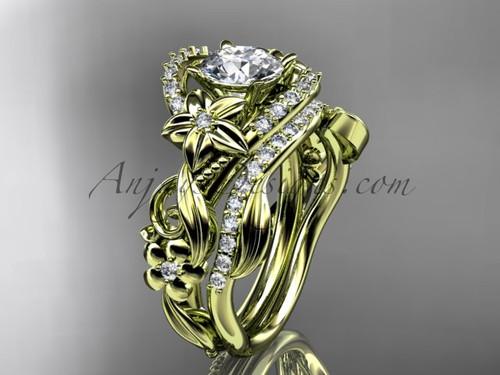 Flower Wedding Set, Rose Gold Diamond Bridal Ring ADLR211S