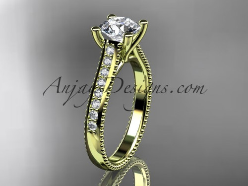 14kt yellow gold diamond unique engagement ring, wedding ring ADER116