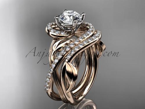 Unique 14kt rose gold diamond leaf and vine wedding set, engagement set ADLR222S