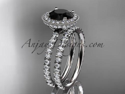 platinum diamond unique wedding ring, engagement set with a Black Diamond center stone ADER106S